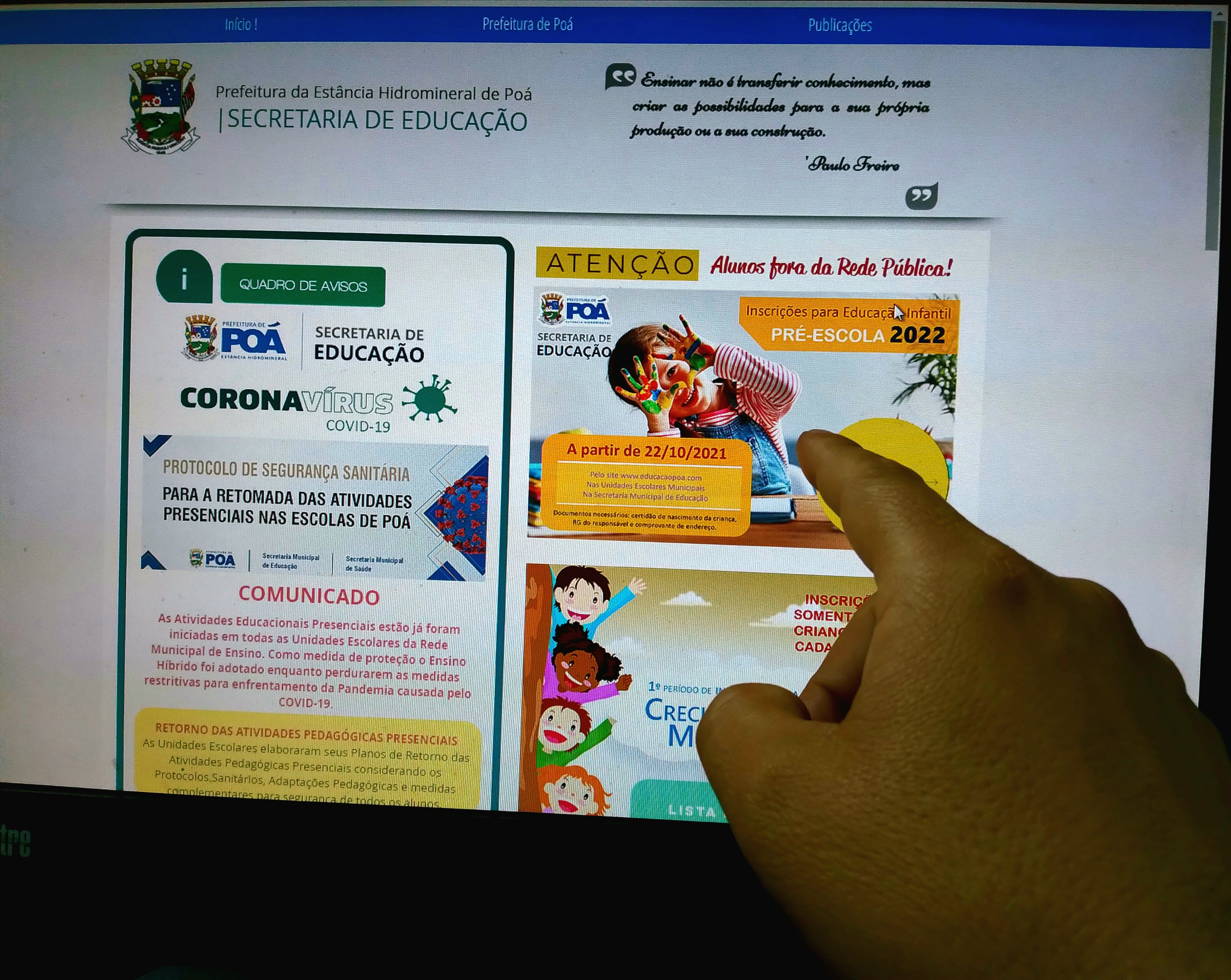 Poá abre inscrições em vagas no ensino infantil para o ano letivo de 2022